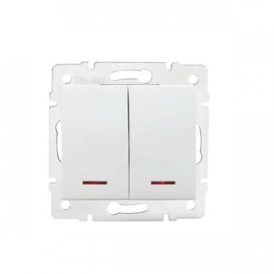 Interrupteur Encastrable Double avec Voyant Lumineux LED LOGI Blanc