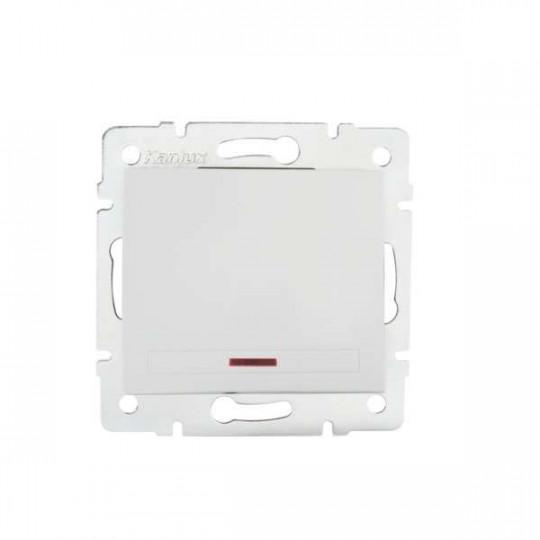 Interrupteur Encastrable Simple avec Témoin LED DOMO Blanc
