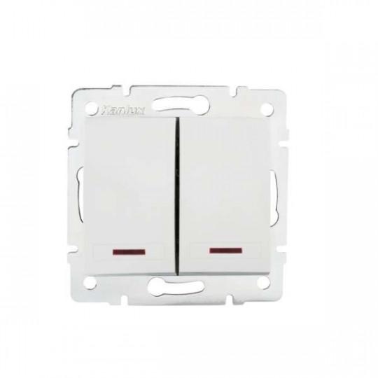 Interrupteur Encastrable Double avec Voyant Lumineux LED DOMO Blanc