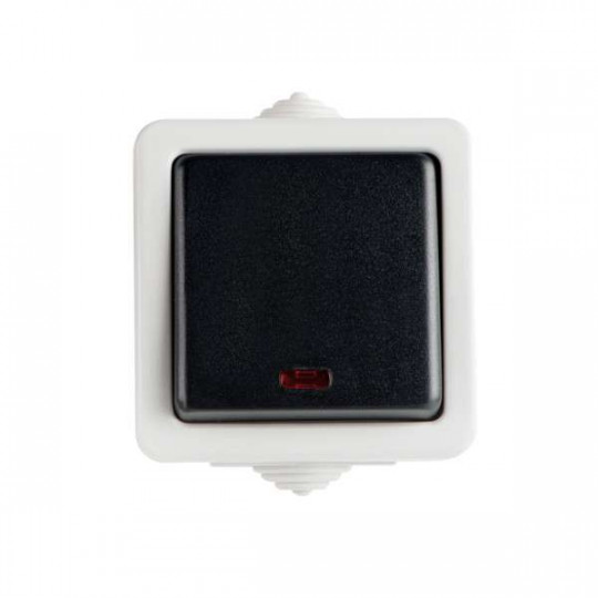Interrupteur Simple Étanche avec Témoin LED TEKNO Noir
