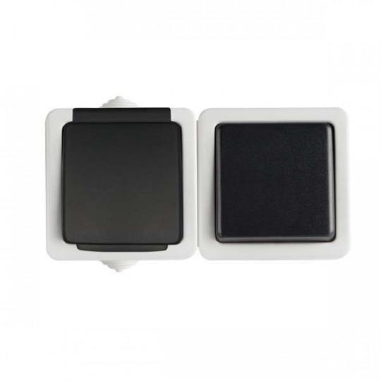 Interrupteur Simple et Prise avec Terre Étanche Horizontale TEKNO Noir