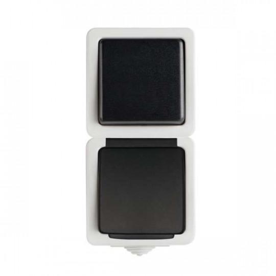 Interrupteur Simple et Prise avec Terre Étanche Verticale TEKNO Noir