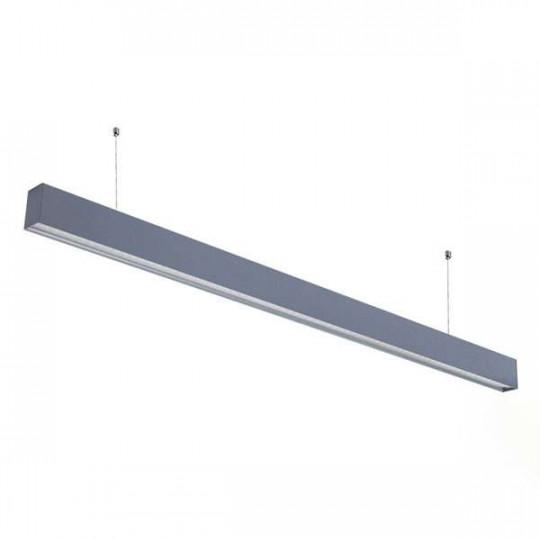 Réglette LED Fine Argentée Suspendue 50W UGR19 Linkable 1200mm Blanc Naturel 4000K