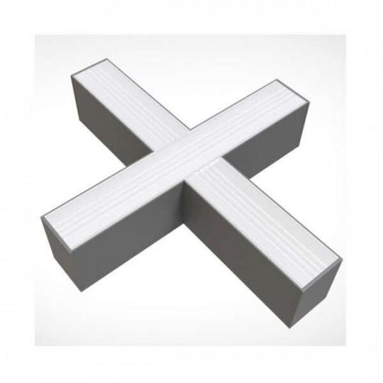 Connecteur X 15W pour Réglette LED Fine Argentée Linkable Blanc Naturel 4000K