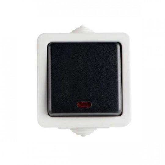 Interrupteur Va-et-Vient Simple Étanche avec Témoin LED TEKNO Noir