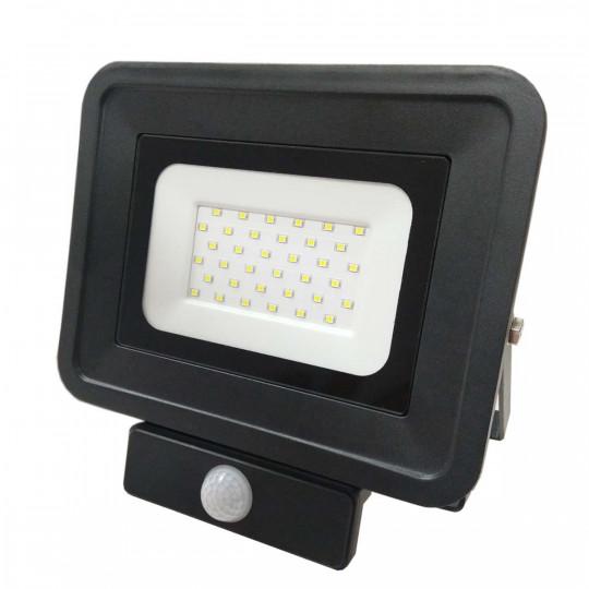 Projecteur LED 30W à détecteur fin équivalent 200W Noir Optonica