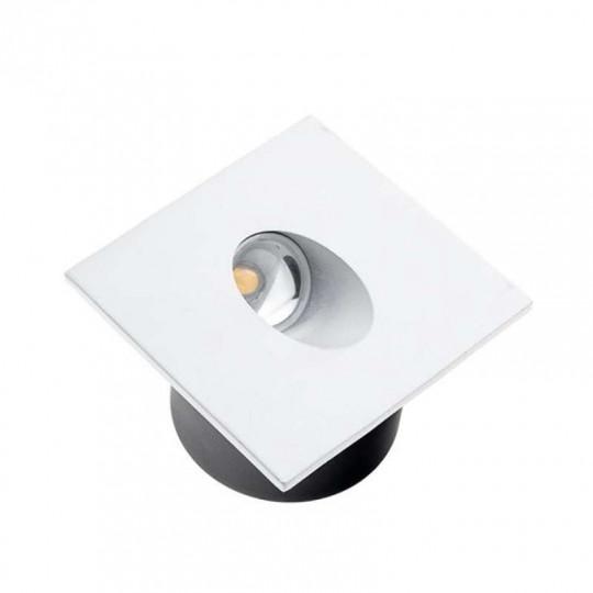 Spot LED 3W Encastrable pour Escalier Carré Blanc AC 220-240V Blanc Chaud 3000K