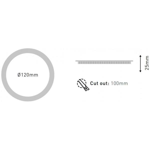 Spot LED encastrable extra plat 6W Gris - Blanc du Jour 6000K