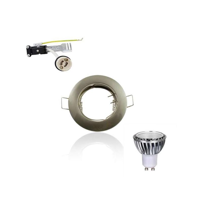 Kit Spot LED GU10 COB 5W équivalent 50W Blanc du jour 6000K fixe aluminium