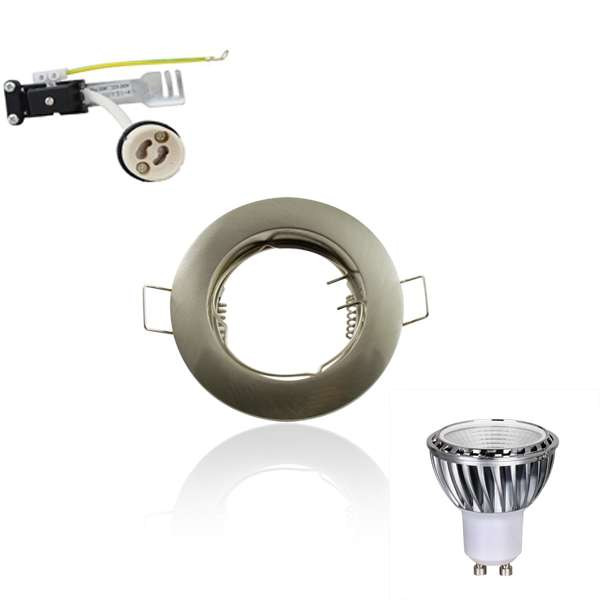 Kit Spot LED GU10 COB 5W dimmable équivalent 5W Blanc chaud 2700K fixe aluminium
