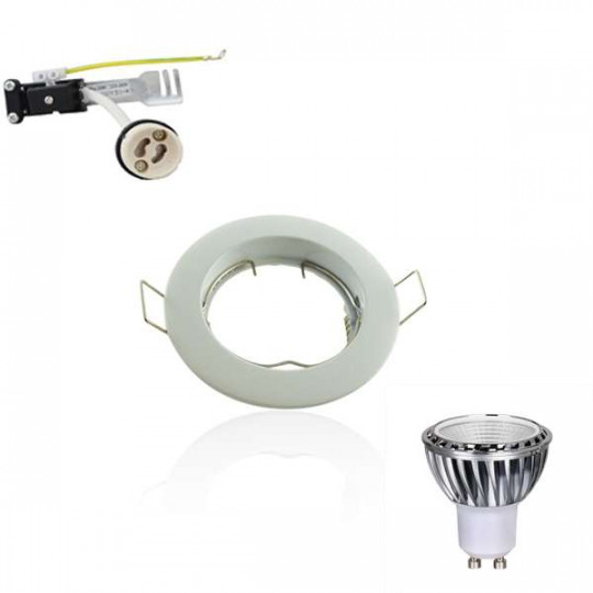 Kit Spot LED GU10 COB 5W équivalent 50W Blanc chaud 2700K fixe blanc