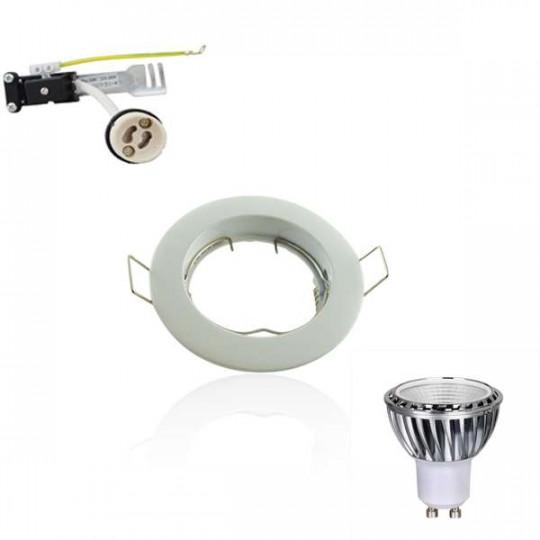 Kit Spot LED GU10 COB 5W Dimmable équivalent 50W Blanc du jour 6000K fixe blanc