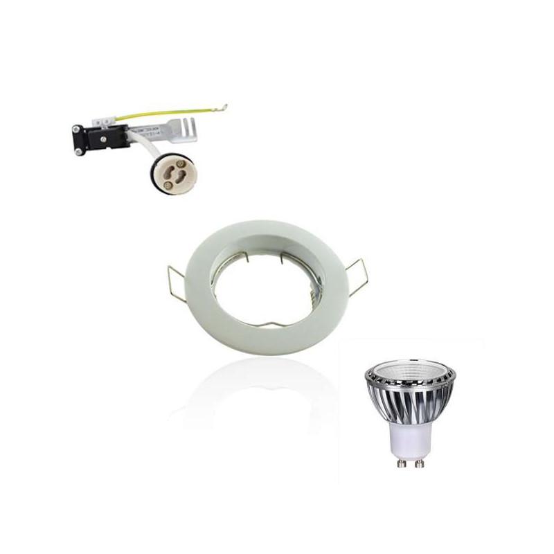 Kit Spot LED GU10 COB 5W équivalent 5W Blanc du jour 6000K fixe