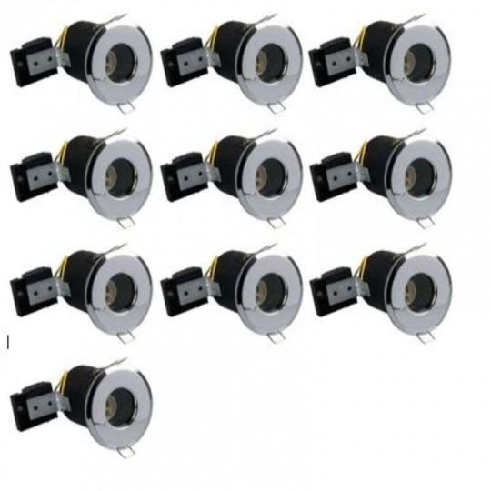 Lot de 10 Supports RT2012 étanche IP65 BBC fixe aluminium Chrome ф73mm