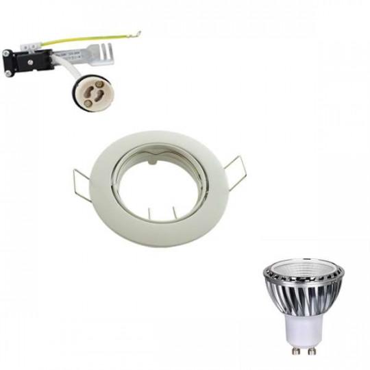 Kit Spot LED GU10 Dimmable COB 5W (50W) Blanc du jour 6000K orientable
