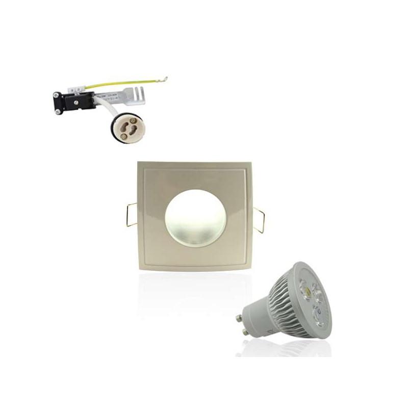 Kit Spot LED GU10 étanche 4W carré blanc - lumière 35W blanc chaud 2700K