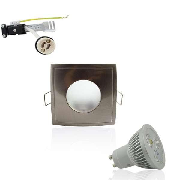 Kit Spot LED GU10 étanche 4W carré aluminium lumière 35W blanc chaud 2700K