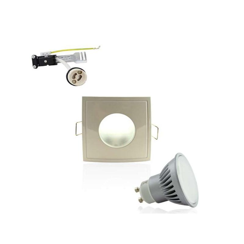 Kit Spot LED GU10 étanche 6W carré aluminium lumière 50W blanc neutre 4100K