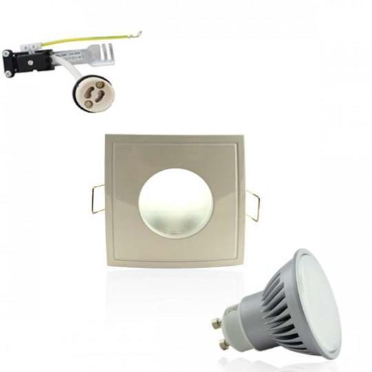 Kit Spot LED GU10 étanche 6W carré blanc lumière 50W blanc du jour 6400K