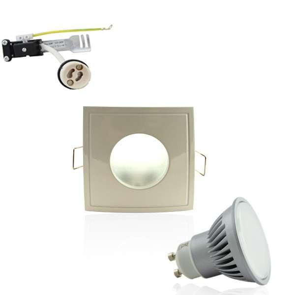 Kit Spot LED GU10 étanche 6W carré blanc lumière 50W blanc chaud 2700K
