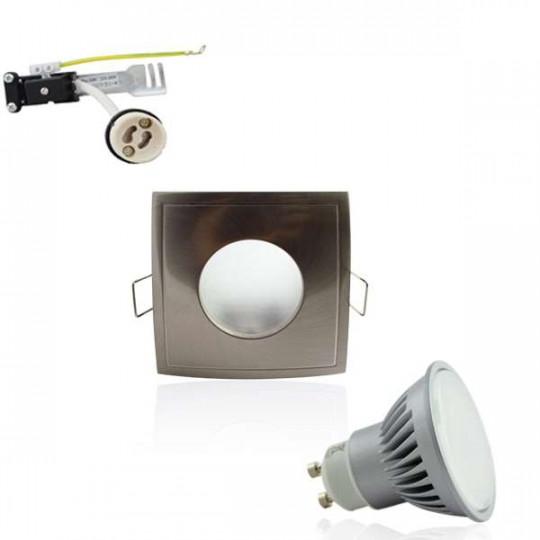 Kit Spot LED GU10 étanche 6W carré aluminium lumière 50W blanc chaud 2700K