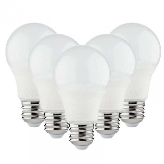 Lot de 5 Ampoules LED A60 SMD 8,5W E27 Blanc Neutre 4000K