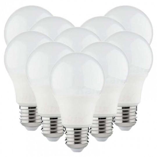 Lot de 10 Ampoules LED A60 SMD 8,5W E27 - Blanc Chaud 3000K