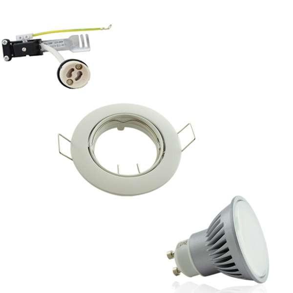 Kit Spot encastrable orientable blanc LED GU10 7W (60W) angle large