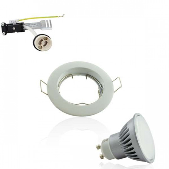 Kit Spot encastrable orientable blanc LED GU10 7W (60W) Blanc Chaud 3000K angle large