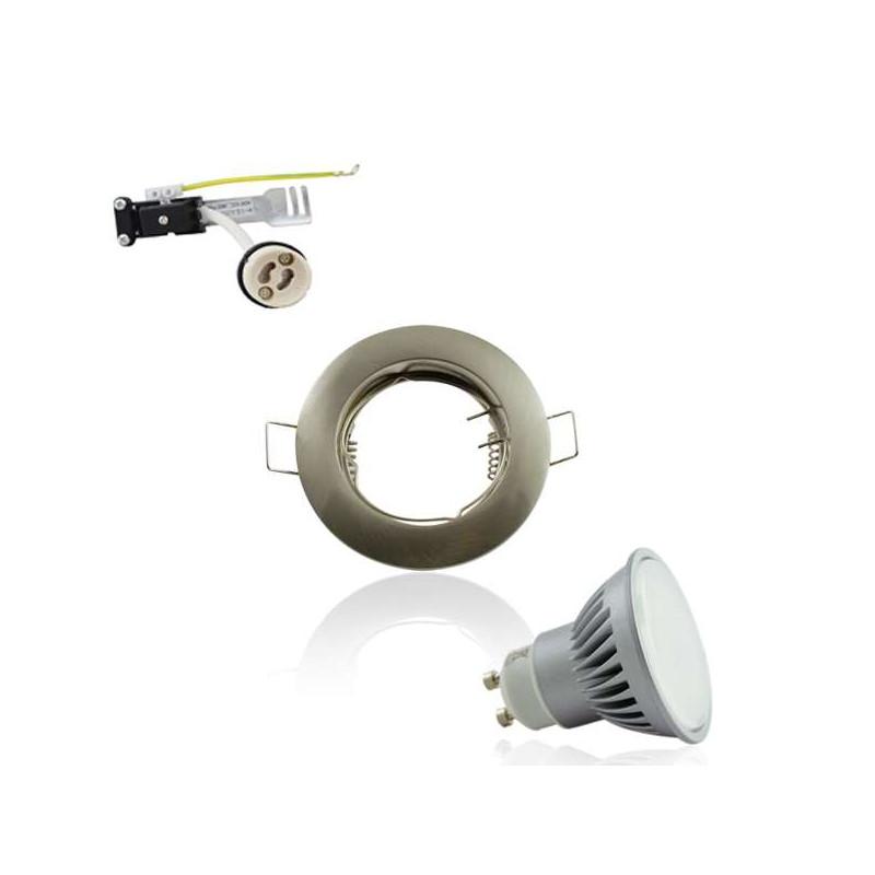 Spot encastrable GU10 rond aluminium fixe 7W 4000K