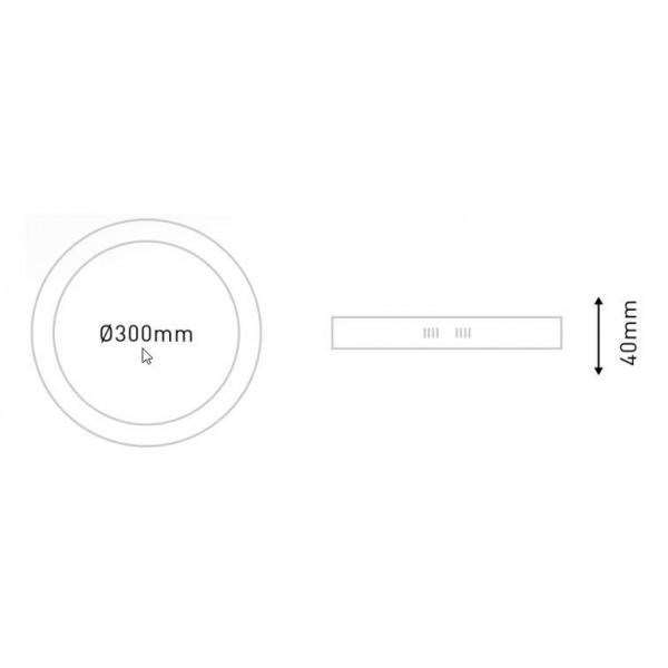 Plafonnier LED en saillie 24W (150W) 300x40mm