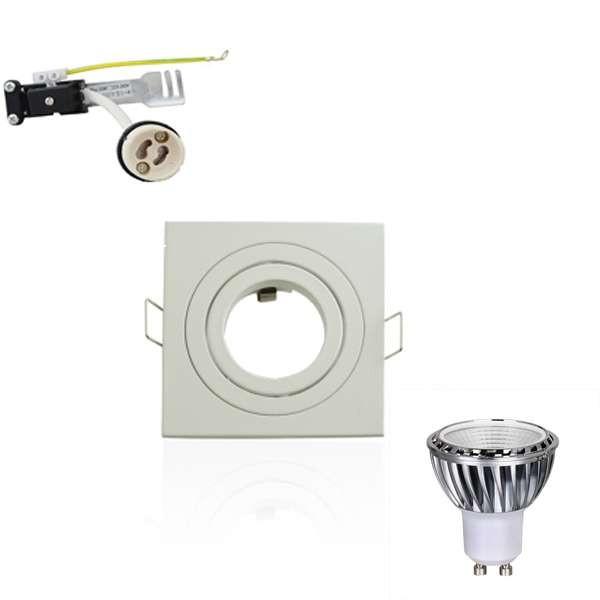 Kit Spot LED GU10 5W carré blanc lumière 50W blanc du jour 6000K
