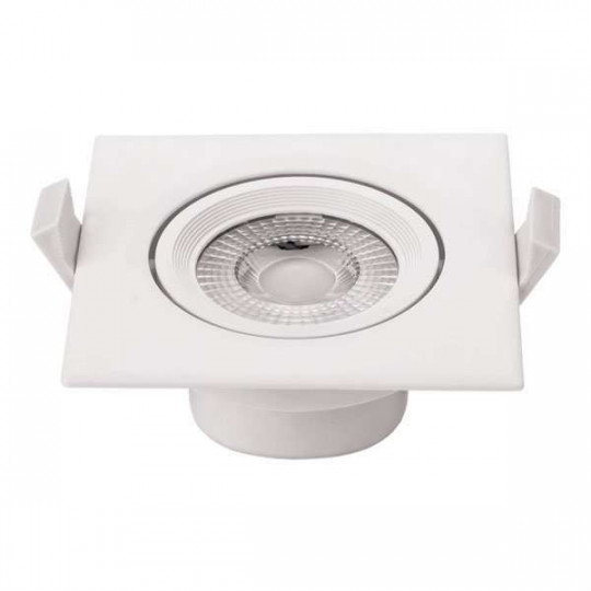 Plafonnier carré encastrable blanc LED 5W COB - éclairage 25W
