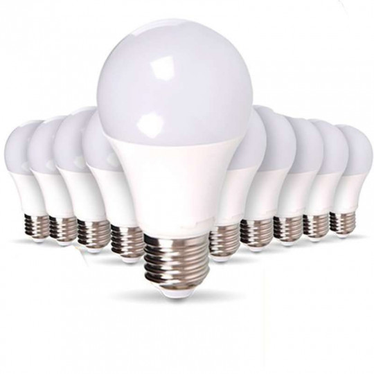 Lot de 50 Ampoules E27 10W A60 équivalent 60W - Blanc du Jour 6000K