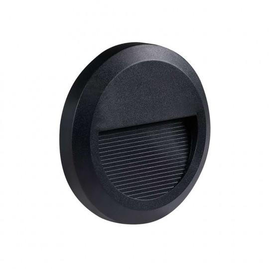 Applique 2W Encastrable LED Extérieure étanche Ronde Noire - Blanc Naturel 4200K