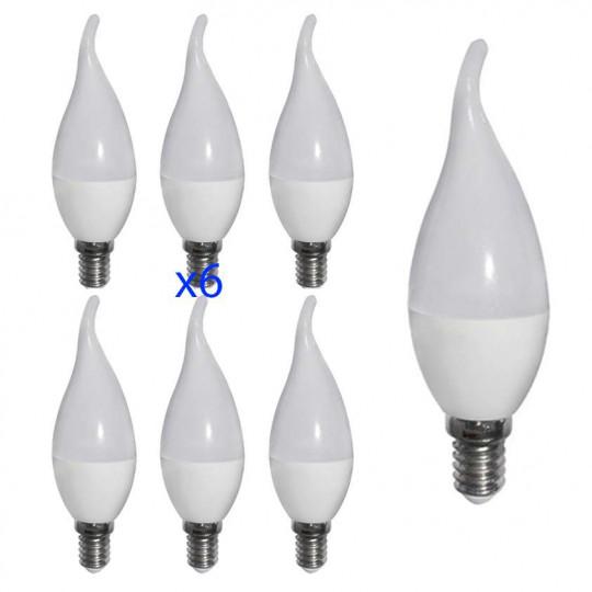 Lot de 6 ampoules LED E14 6W Flamme eq 40W