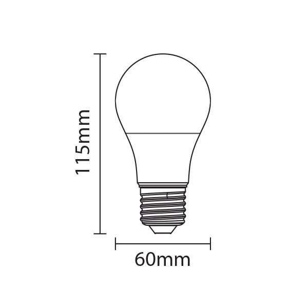 Ampoule E27 12W A65 équivalent 75W - Blanc Chaud 2700K