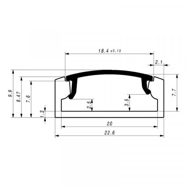Diffuseur Dépoli 18,4mm pour Profilé SLW