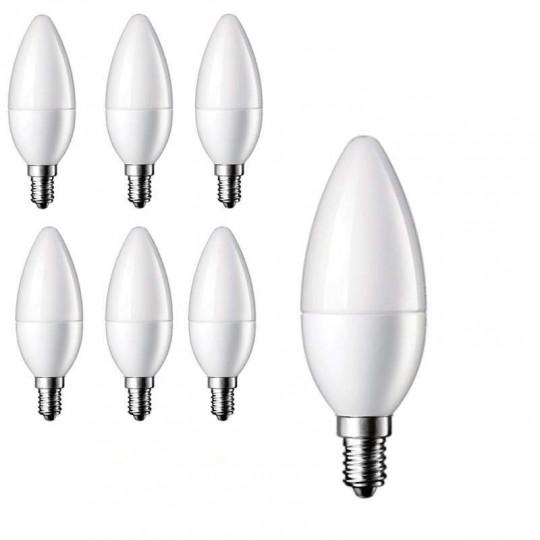 Lot de 6 Ampoules LED E14 Flamme 6W 480lm 280° - Blanc Chaud 2700K