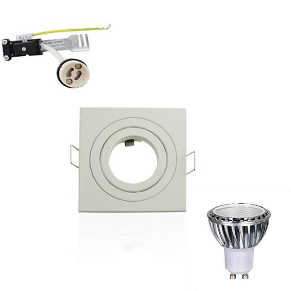 Kit Spot LED GU10 5W Carré lumière 50W Blanc du Jour 6000K