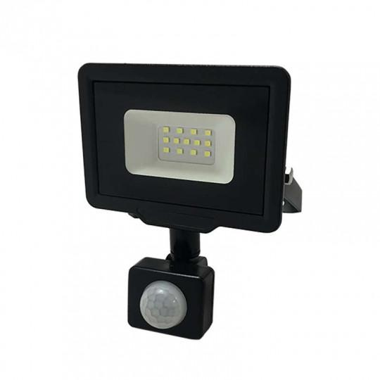 Projecteur LED Noir 10W à Détecteur IP65 800lm - Blanc du Jour 6000K