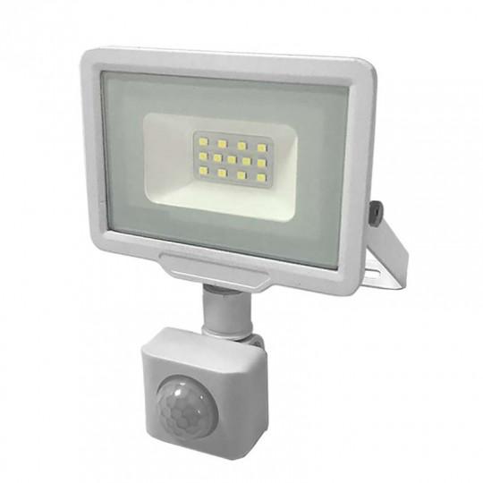 Projecteur LED Blanc 10W à Détecteur IP65 800lm - Blanc du Jour 6000K