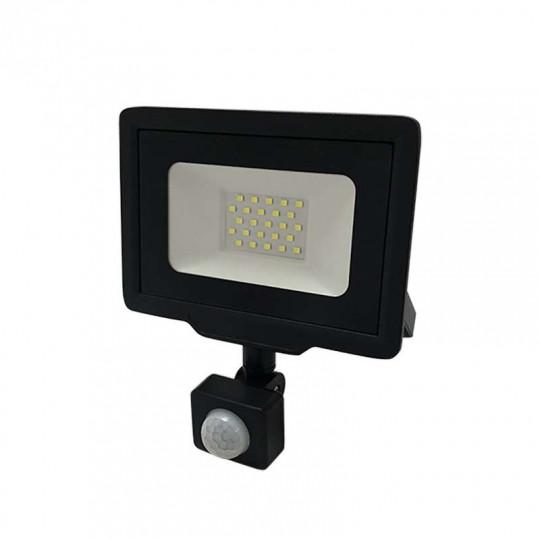 Projecteur LED Noir 20W (100W) à Détecteur IP65 1600lm - Blanc du Jour 6000K