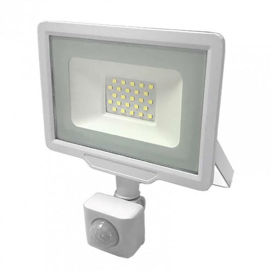 Projecteur LED Blanc 20W (100W) à Détecteur IP65 1600lm - Blanc du Jour 6000K