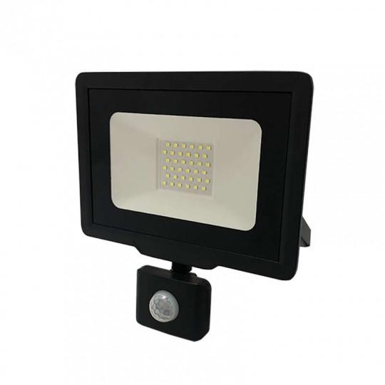 Projecteur LED Noir 30W (150W) à Détecteur IP65 2400lm - Blanc du Jour 6000K