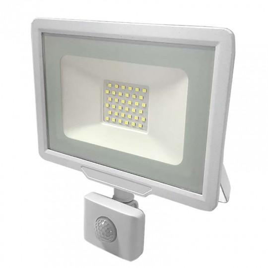 Projecteur LED Blanc 30W (150W) à Détecteur IP65 2400lm - Blanc du Jour 6000K