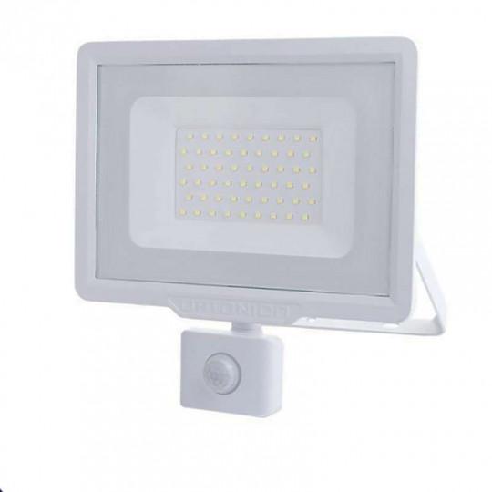 Projecteur LED Blanc 50W (250W) à Détecteur IP65 4000lm - Blanc Naturel 4500K