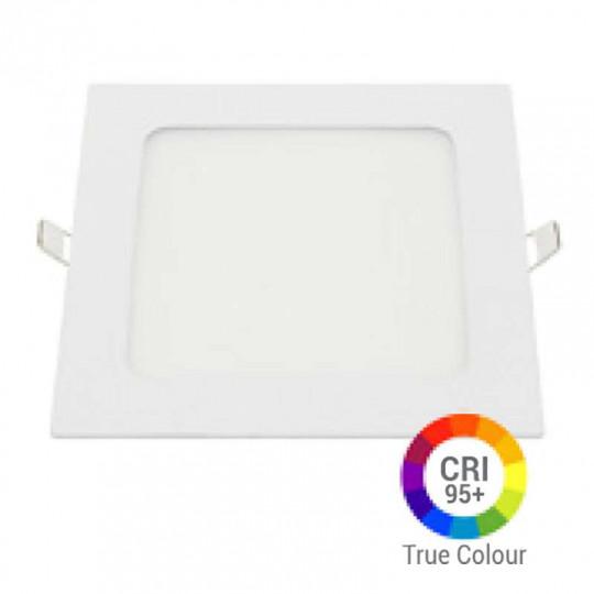 Plafonnier LED Carré 12W Extra Plat Encastrable IRC95 - Blanc Chaud 2700K