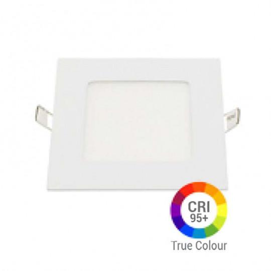 Plafonnier LED Carré 6W Extra Plat Encastrable IRC95 - Blanc Naturel 4200K