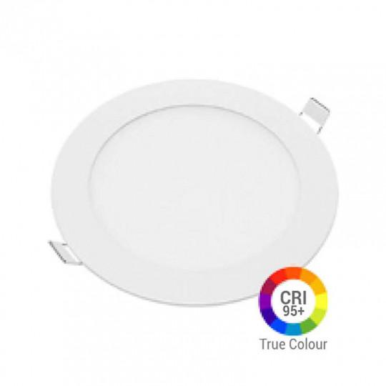 Plafonnier LED Rond 12W Extra Plat Encastrable IRC95 - Blanc du Jour 6000K